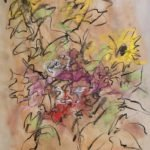 Mary Page Evans, Sunflowers, 2018, Pastel on paper, 18 1/4 x 14 1/2 inches