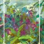 Mary Page Evans, Tropical Triptych, 2019, Oil on linen, 20 x 48 inches