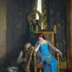 N.C. Wyeth (1882-1945), King Mark slew the noble knight Sir Tristram as he sat harping before his lady la Belle Isolde (SOLD), 1917, Oil on canvas, 40 x 32 inches