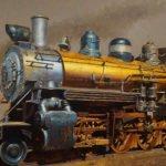 Drew Ernst, Golden Train, 2019, Oil on linen, 20 x 30 inches