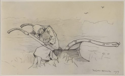 Winslow Homer, Girl Sitting On a Plow, 1879, Pencil on paper, 5 3/4 x 9 1/2 inches