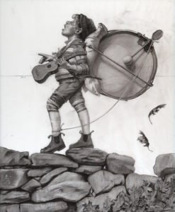 Shawn Fields, One Man Band (study), Charcoal on vellum, 42 1/4 x 26 inches