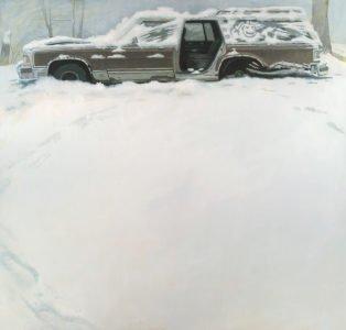 Shawn Fields, Winter Wagon, Oil on board, 39 x 38 inches