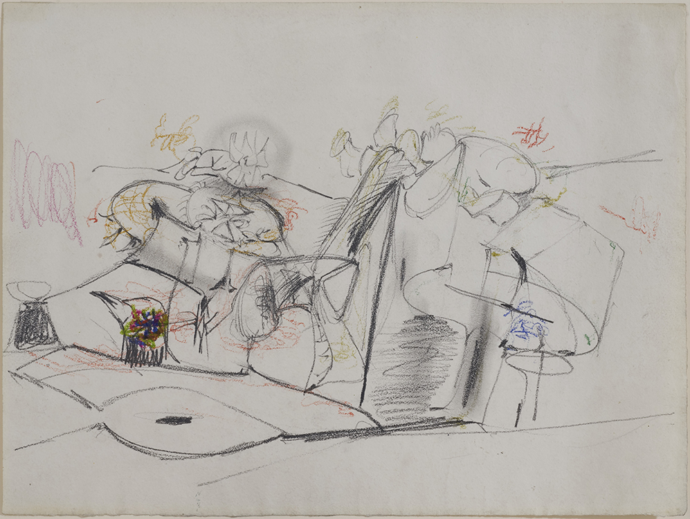 Arshile Gorky, Untitled, c. 1946, Pencil and pastel on paper, 11 ⅛ x 14 ⅞ inches