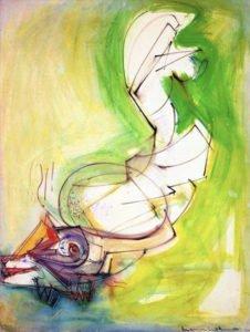 Hans Hofmann, Reclining Figure, 1942, Gouache on museum ragboard, 41 x 30 ½ inches