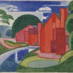 "Oscar Bluemner; Tars, Azlo ""Flach"" Soho Fat Mill; 1920, Watercolor on paper, 3 ⅞ x 5 inches"