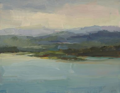 Christine Lafuente, Bay at Dusk, 2020, Oil on canvas, 14 x 18 inches