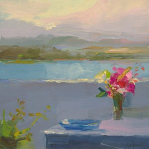 Christine Lafuente; Bougainvillea, Blue Bowl, and Bay; 2020, Oil on mounted linen, 12 x 12 inches