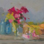 Christine Lafuente; Bougainvillea, Coral Vine, and Fruit; 2020, Oil on mounted linen, 9 x 12 inches