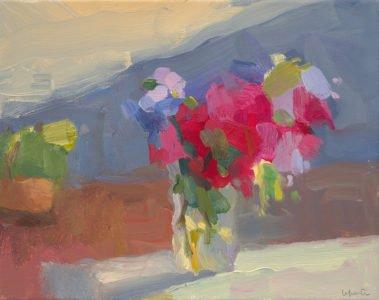 Christine Lafuente, Bougainvillea on the Terrace, 2020, Oil on canvas, 11 x 14 inches