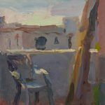 Christine Lafuente; Casa Blanca, Chair, and Ladder; 2020, Oil on mounted linen, 10 x 8 inches