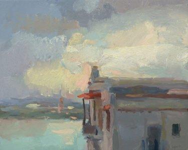 Christine Lafuente; Casa Blanca, Evening; 2020, Oil on linen, 16 x 20 inches