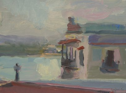Christine Lafuente, Casa Blanca and Bay of San Juan, 2020, Oil on mounted linen, 9 x 12 inches