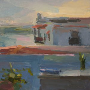 Christine Lafuente; Casa Blanca and Terrace, Sunset; 2020, Oil on mounted linen, 10 x 10 inches