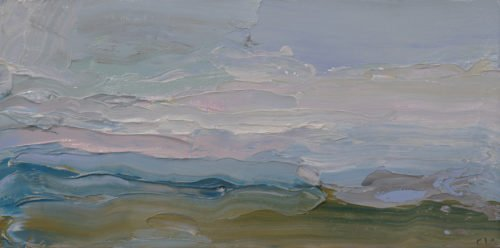 Christine Lafuente, Dusk over Puerto Rico, 2020, Oil on mounted linen, 4 x 8 inches
