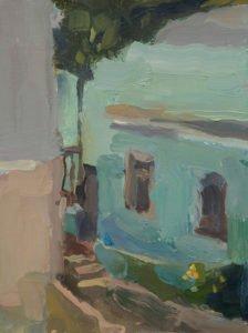 Christine Lafuente, Escalinata del Hospital, 2020, Oil on mounted linen, 12 x 9 inches