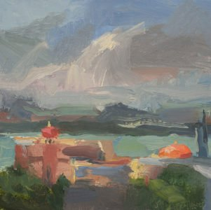 Christine Lafuente; Fortaleza, Chapel, and Bay; 2020, Oil on mounted linen, 10 x 10 inches