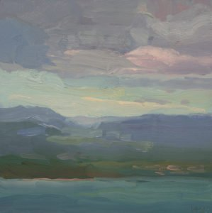 Christine Lafuente, Mountains and Bay of San Juan, 2020, Oil on mounted linen, 12 x 12 inches