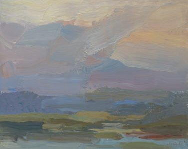 Christine Lafuente, Mountains at Dusk, 2020, Oil on mounted linen, 8 x 10 inches