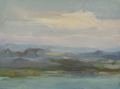 Christine Lafuente; Mountains and Clouds, San Juan; 2020, Oil on linen, 12 x 16 inches