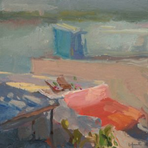 Christine Lafuente, Rooftop Lounge, 2020, Oil on mounted linen, 10 x 10 inches