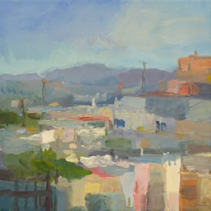 Christine Lafuente, Rooftops and Distant Mountains, 2020, Oil on linen, 14 x 14 inches