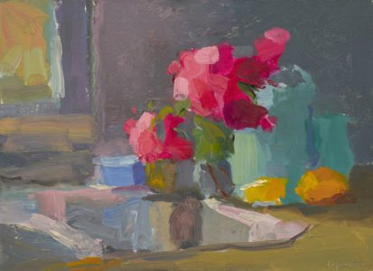 Christine Lafuente, Sink, Lemons, and Bouganvillea; 2020, Oil on mounted linen, 9 x 12 inches