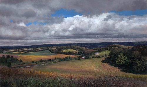 Timothy Barr, Albany Township, Oil on panel, 12 x 20 inches