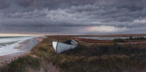 Timothy Barr, Cisco Beach West End, Oil on panel, 12 x 24 inches