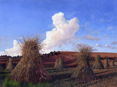 Timothy Barr, Corn Shock Walk, Oil on panel, 18 x24 inches