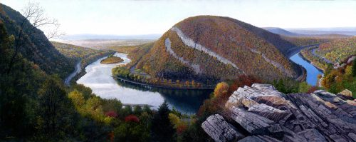 Timothy Barr, Mt. Tammany, Oil on panel, 12 x 30 inches