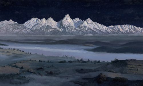 Timothy Barr, Teton Nocturne, Oil on panel, 24 x 40 inches