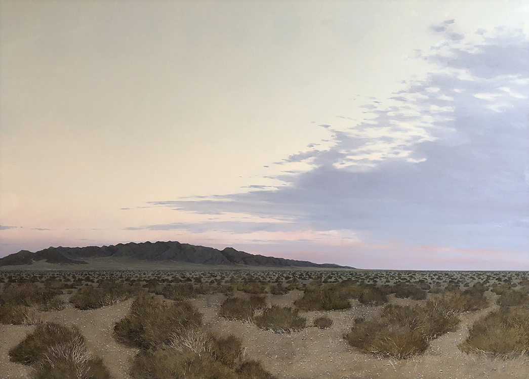 Francis Di Fronzo; First Light, Mojave; 2020, Oil over watercolor and gouache on panel, 38 x 53 inches