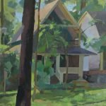 Kristen Peyton, Tilt House at Campmeeting, 2020, Oil on canvas mounted on board, 23 x 21 ½ inches