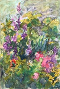 Mary Page Evans, Kitty's Garden, Oil on canvas, 36 x 24 inches