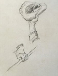 N.C. Wyeth, Untitled Study (hand waving a hat; hand holding a rod), Graphite on paper, 10 ¾ x 8 ¾ inches