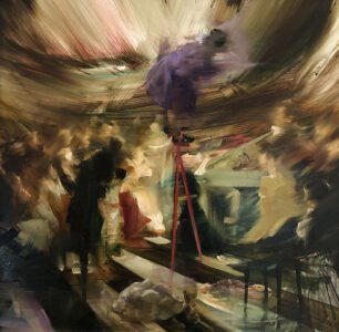 Sarah McRae Morton, High Water, 2020, Oil on board, 16 x 16 inches