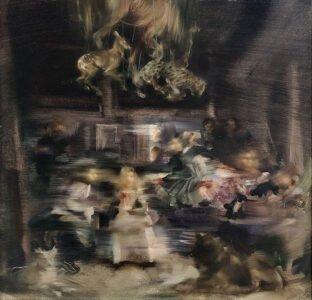 Sarah McRae Morton; Marionettes, Tortoise Barrettes, Rosy Florettes, Lead Epaulettes; 2020; Oil on canvas; 20 x 20 inches