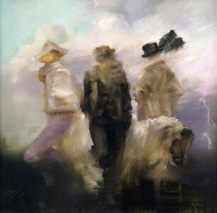 Sarah McRae Morton, Plume, 2020, Oil on board, 16 x 16 inches