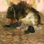 Sarah McRae Morton, Tea Parting, 2020, Oil on board, 16 x 16 inches