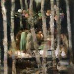 Sarah McRae Morton, Through the Eyes of Birches, 2020, Oil on canvas, 18 x 18 inches