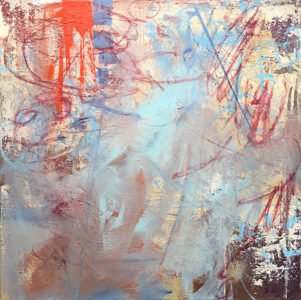 Vicki Vinton, Abstract 123, 2020, Mixed media on board, 32 x 32 inches
