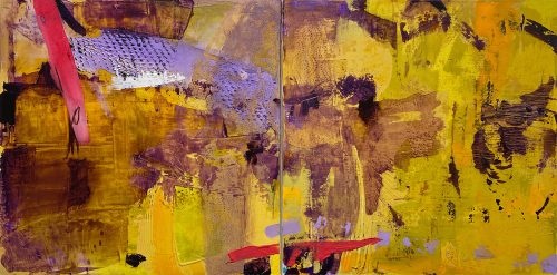 Vicki Vinton, Skip to It, Mixed media on canvas, 24 x 48 inches