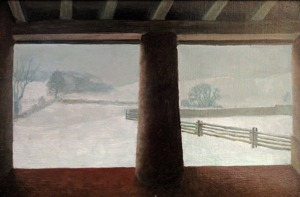J. Clayton Bright; Winter View, A Study; 2015; Oil on mounted linen; 10 x 15 inches