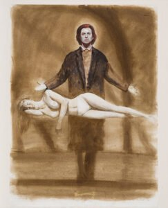 Bo Bartlett, The Magician (Study)(SOLD), 1996, Mixed media on paper, 30 x 22 inches