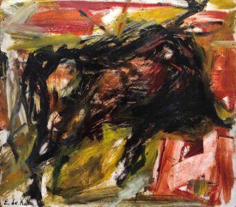 Elaine de Kooning, Bull, c. 1959, Oil on masonite, 15 ½ x 17 ⅞ inches, Private Collection courtesy of Art Finance Partners