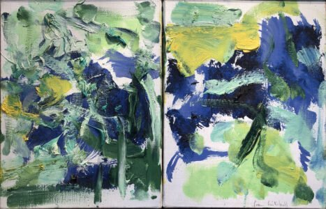 Joan Mitchell, Untitled Diptych, c. 1986, Oil on canvas, 13 ¾ x 21 ½ inches, On loan from Mary Page Evans
