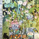 Elizabeth Endres, Hiding and Small Black Dog by the Side (SOLD), 2021, Oil on canvas, 36 x 36 inches