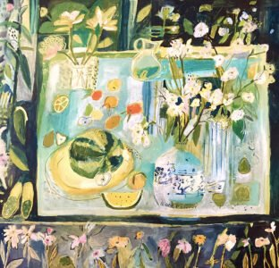 Elizabeth Endres, Inky Blue and Floral Room (SOLD), 2021, Oil on canvas, 44 x 44 inches