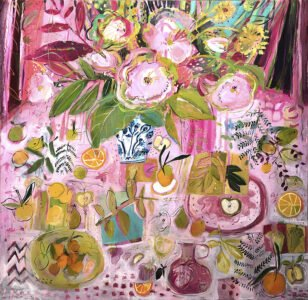 Elizabeth Endres, Pink Table (SOLD), 2021, Oil on canvas, 50 x 50 inches